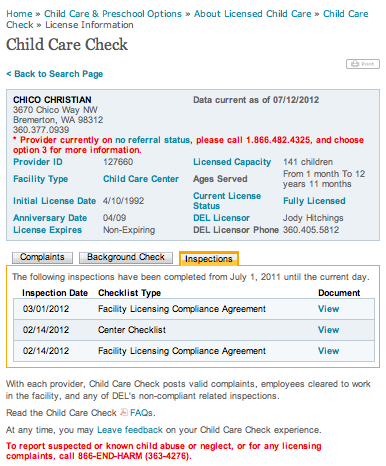 Chico Child Care Licensing Inspections
